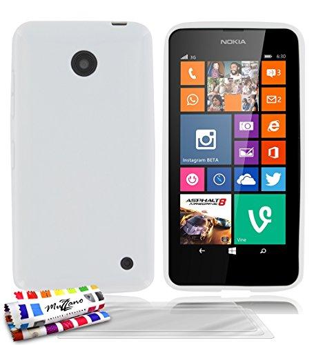 Muzzano F430738 - Funda para Nokia Lumia 630/635, incluye 3 protectores de pantalla, color blanco