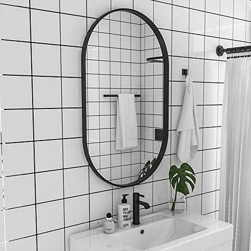 Family History Decoración De Espejo De Baño, Creativo Espejo Ovalado para Colgar En La Pared con Marco De Hierro Forjado para Sala De Estar De Entrada De Baño