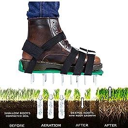 Sandales Aérateur Pelouse Jardin Aérateur Gazon Chaussures Chaussure à Gazon Scarificateur Manuel avec Roue Pelouse…