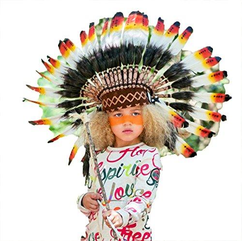 KARMABCN N21 Sombrero Indio 5-8 años Niño/Niña: Penacho con Pluma Real para 21 Pulgadas o 53,4 cm...