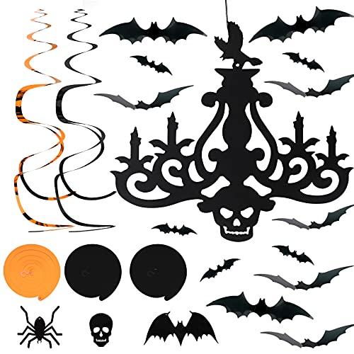28 szt. Halloween 3D nietoperz naklejka ścienna i 20 szt. Halloween wiszące zawiry dekoracja, 3D nietoperze naklejka ścienna nietoperze naklejka Halloween impreza wiszące dekoracje (bajki, czaszka, pająk) na okno Halloween