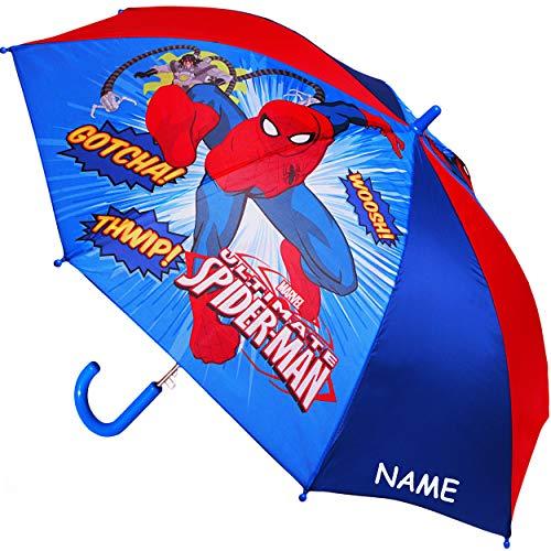 alles-meine.de GmbH Regenschirm - AUTOMATIK -  Ultimate Spider-Man - Marvel  - inkl. Name - Kinderschirm Ø 80 cm / groß Stockschirm mit Griff - Kinder - Regenschirme - für Jung..