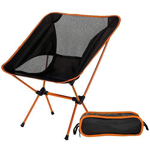 ZLININ Y-longhair - Silla plegable ultraligera con bolsa de transporte, portátil, para playa, tomar el sol, picnic, barbacoa, camping, color naranja