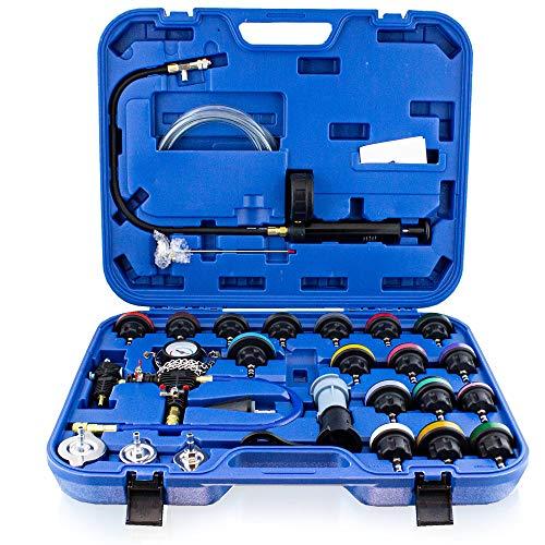 BITUXX KFZ Kühlsystem Abdrückgerät Druckprüfung Abdrücken Tester Kühler Werkzeug 28 teilig Messbereich 0-2,5 bar, Für alle gängigen PKW geeignet!