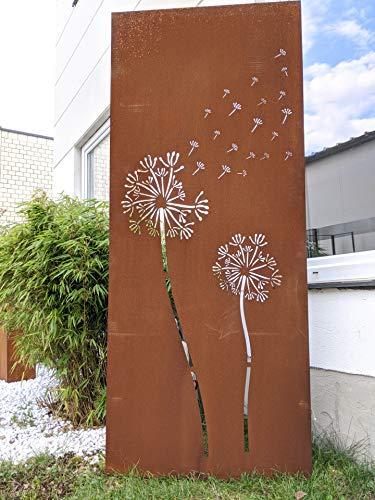 Zen Man Edelrost Sichtschutz Garten Sichtschutz aus Metall 1mm Rost Gartenzaun Gartendeko rost Sichtschutzwand (032096-2: B75*H150cm)