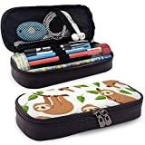 Cute Baby Sloth Bear Tropical Bedroom Funda de cuero para lápices Estuche Cute Pen Pencil Case Box