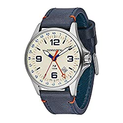 Cream GMT Pilot Watch for Men, Swiss Quartz, Mineral Crystal with Blue Leather Strap