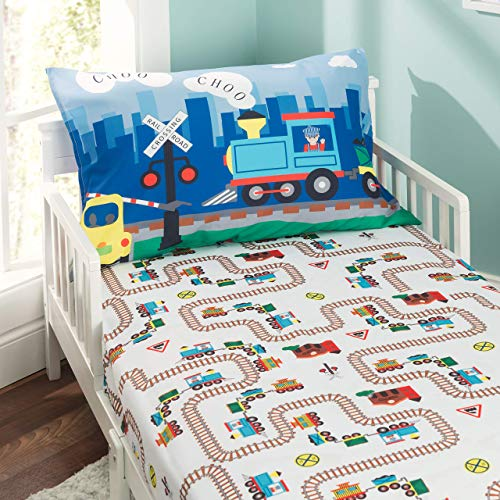 Everyday Kids Toddler Fitted Sheet and Pillowcase Set -Choo Choo Train- Soft Breathable Microfiber Toddler Sheet Set