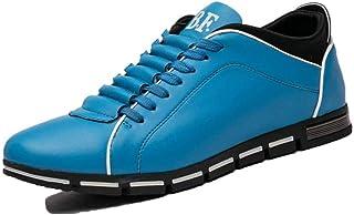 Scarpe Casual da Uomo in Tinta Unita con Punta Tonda Sneakers Piatte Allacciate Scarpe da Passeggio per Ufficio in Pelle d...