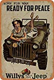 No/Brand Born for War Ready for Peace Willys Jeep Metall