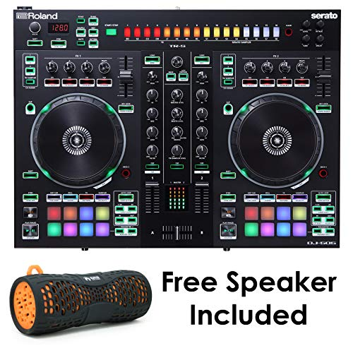 Roland PKG DJ-505 Two Channel, Four-Deck Serato DJ Controller with Free Orange EMB Rechargeable Speaker