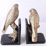 XinLuMing Bookends Retro Parrot Art Booking Hooking Office Regalos para Amigos y latón Familiar (Color: latón, Tamaño: 13.5x14x22 + 14.5 * 12 * 27cm) (Color : Beige)