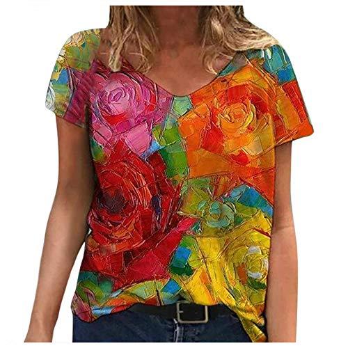 YinGTral Damen Sommer Blume gedruckt Kurzarm V-Ausschnitt Shirts & Tops