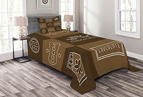 ABAKUHAUS Schokolade Tagesdecke Set, Kakao Schokolade, Set mit Kissenbezügen Maschienenwaschbar, 170 x 220 cm, Kakao Schokolade
