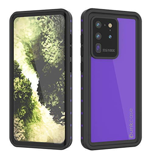 PunkCase S20 Ultra Waterproof Case [StudStar Series] [Slim Fit] [IP68 Certified] [Shockproof] [Dirtproof] [Snowproof] Armor Cover Compatible W/Samsung Galaxy S20 Ultra [Purple]