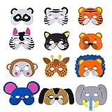 Losuya 12 x Dschungel Tier Masken Kinder Schaummaske Elastische Seil Geburtstag Bühnenleistungen...