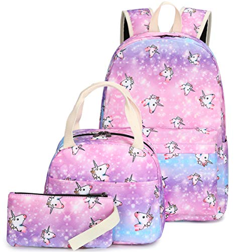 School Backpacks for Teen Girls Bookbags Kids School Bag Cute Unicorn Backpack with Lunch Box and Pencil Case (Y070-3/Unicorn)