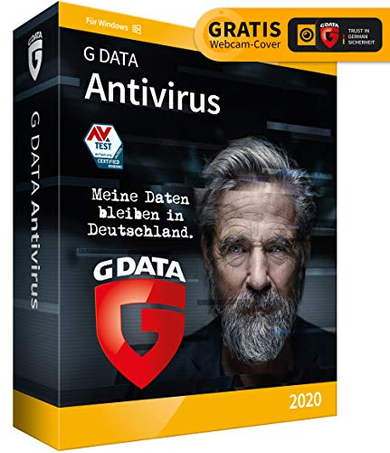 G DATA Antivirus 2020 | 1 PC - 1 Jahr, DVD-ROM inkl. Webcam-Cover | Virenscanner für Windows 10 / 8 / 7 | Made in Germany