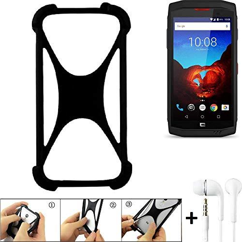 K-S-Trade® Handyhülle Kompatibel Mit Crosscall Trekker X3 Schutzhülle Bumper Silikon Schutz Hülle Cover Case Silikoncase Silikonbumper TPU Softcase Smartphone, Schwarz (1x), Headphones