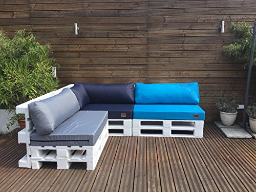 Mayaadi Home Palettenauflage passend für Europalletten Palettenpolster Paletten-Sitzsofa für Drinnen und Draußen MH-GD03 (Rückenkissen lang 120x40x10/20 cm, Turkis)