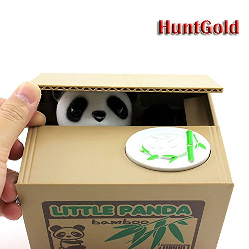 Auped Cute Panda Stealing Coins Cents Penny Buck Saving Money Box Pot Case Piggy Bank (Pack of One)