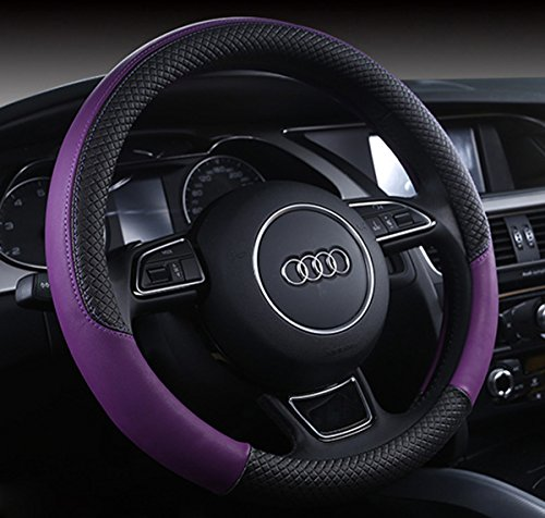 Follicomfy Automotive Steering Wheel Cover Leather Anti Slip Wrap 15',Purple