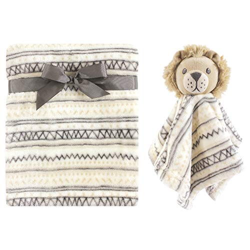 Hudson Baby Unisex Baby Plush Blanket with Security Blanket, Lion, One Size