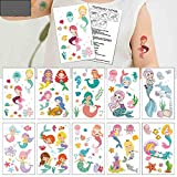Mermaid Temporary Tattoos(80 designs) - COKOHAPPY Fake Mermaid Assorted Temporary Tattoos For Kids Children Girls Birthday Party Favors Supplies Party Accessories