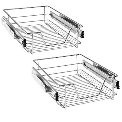 HENGMEI Cajón armario cajón extraíble cajón de cocina Estante Estantería de cocina cesta auszug Dormitorio cajón, 2x40 cm