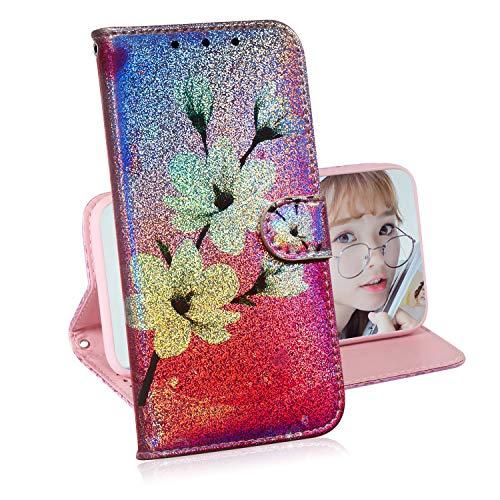 Glitzer Brieftasche Hülle für Samsung Galaxy S9 Plus,Miagon Änderung Farbe Tier Gemalt PU Leder Faltbare Flip Case mit Kartenhalter Standfunktion,Magnolie
