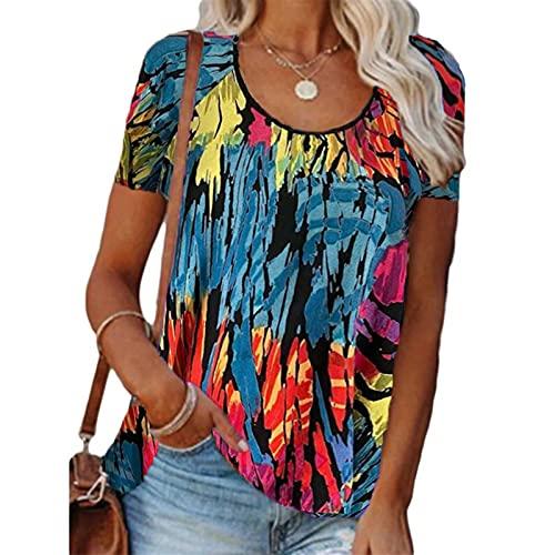 SLYZ Blusa De Camiseta De Manga Corta Floral Suelta con Cuello Redondo Y Cuello Redondo De Moda De Verano para Mujeres Europeas Y Americanas