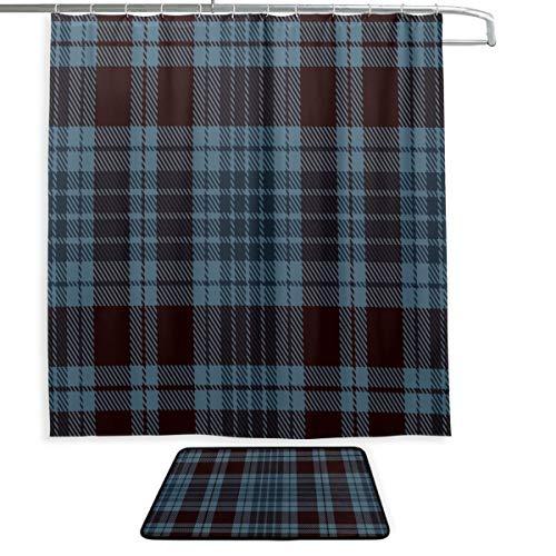 Cortina para Ventana de baño, tartán Azul Oscuro, Tela Escocesa geométrica Suave,...