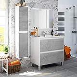 Miroytengo Pack Mueble baño 2 cajones con Espejo Columna y Lavabo ceramico Estilo Industrial Conjunto Aseo Completo