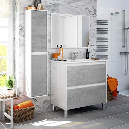 Miroytengo Pack Mueble baño 2 cajones con Espejo Columna y