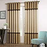 Dreaming Casa 1 Panel Grommet Top Solid Polyester Window Curtain Treatment Beige&Brown Two Tone 52' W x 96' L
