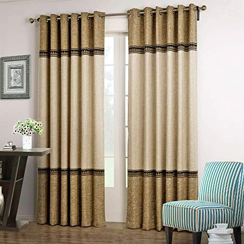 """Dreaming Casa 1 Panel Grommet Top Solid Polyester Window Curtain Treatment Beige&Brown Two Tone 52"""" W x 63"""" L"""