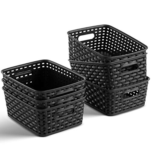 Set of 6 Plastic Storage Baskets - Small Pantry Organizer Basket Bins - Household Organizers with Cutout Handles for Kitchen Organization, Countertops, Cabinets, Bedrooms, and Bathrooms