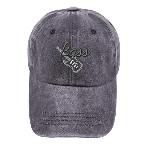 Vintage Washed Hat Bass Guitar B Embroidery Cotton Dad Hats for Men & Women Buckle Closure Grey Design Only