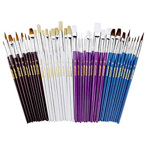 Artlicious - 40 Paint Brush Super Pack - Great with Acrylic, Oil, Watercolor, Gouache