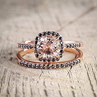 Beautiful 1.25 Carat Morganite and Black Diamond Engagement Ring Set in Rose Gold
