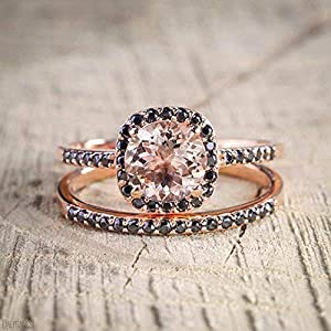 1.25 Carat Morganite and Black Diamond Engagement Ring Set in Rose Gold