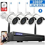 【8CH Expandable】Security Camera System Wireless Outdoor, 8 Channel 1080P NVR With 1TB Hard Drive...