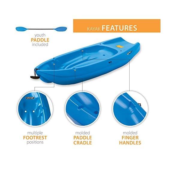 Lifetime Youth Wave Kayak (Paddle Included), Blue, 6' 3 Ergonomic Cockpit Design Enhances Balance and Motor Skills Molded finger handles on each side of the kayak Reverse chine for enhanced stability with swim-up step