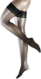 Womens Lunelle 8 Denier Ultra-Transparent Shimmer Stay Up Stockings - Black