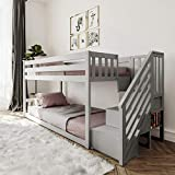 Max & Lily Twin Low Bunk Bed with Staircase, Grey