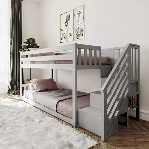 Max & Lily Twin Low Bunk Bed with Staircase, Twin/Twin, Grey
