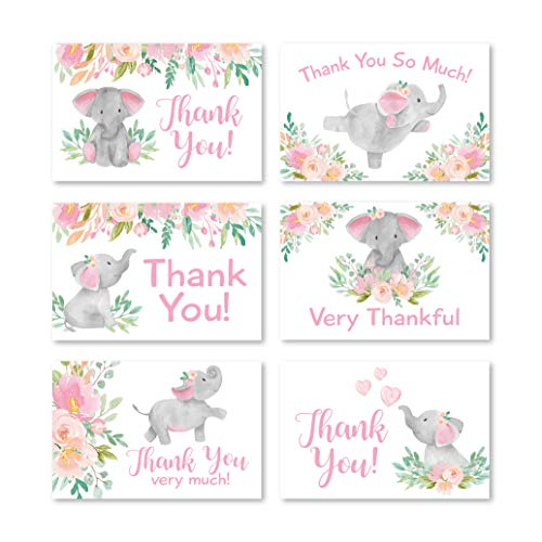 24 Pink Floral Elephant Baby Shower Thank You Cards With Envelopes, Kids Thank You Note, Vintage Animal 4x6 Varied Gratitude Card Pack For Party, Kids Girl Children Birthday, Modern Event Stationery