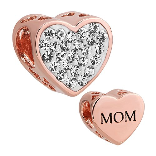 LovelyJewelry Heart Mom Charms Clear Rose Gold Simulated Birthstone Synthetic Crystal Beads for Bracelet