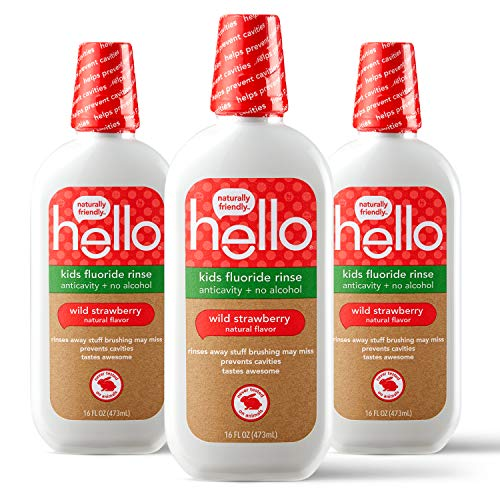 Hello Kids Wild Strawberry Natural Flavor Anticavity Fluoride Rinse - Vegan, Alcohol Free, and SLS Free Mouthwash for Children Age 2 and Up - 16 Ounce (Pack of 3)