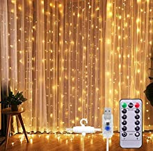 VIPMOON Window Curtain Lights,3m x 3m 300LED Warm White USB Powered 8 Modes Copper Wire Curtain Lights,Remote Control Fair...